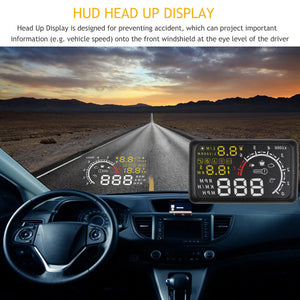 Onever 5.5'' 4C OBDII Car HUD OBD2 Port Head Up Display Windows Screen Speed Projector Warning System Windshield Projector Alarm - Jeybeauty