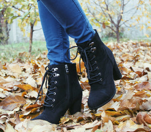 Ankle Boots Winter High Heels Boots Lace Up Thick Heel Short Boots Zipper Autumn shoe - Jeybeauty