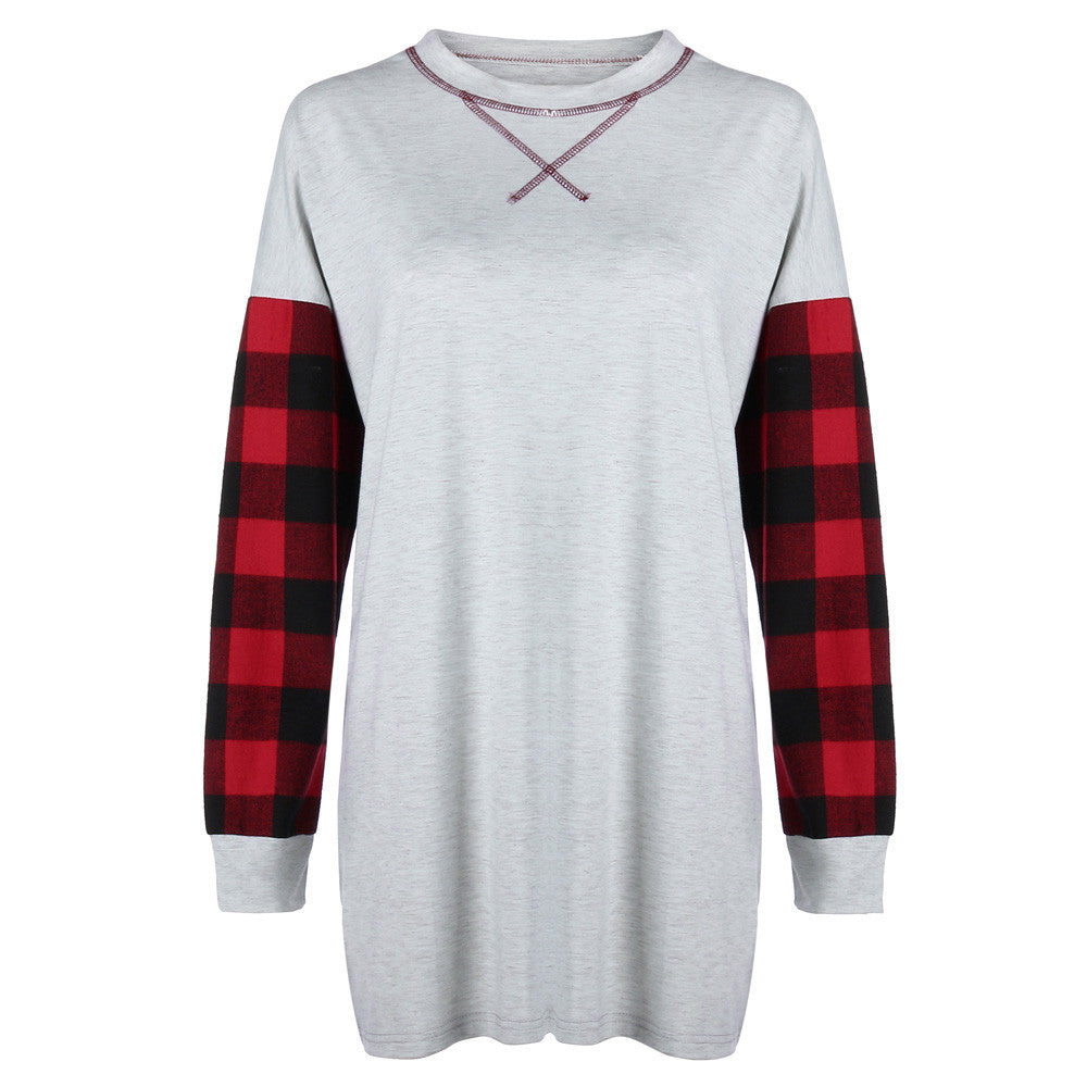 Women Plaid Patchwork Loose Long Sleeve T-Shirt O-neck Pullover Blouse Tops - Jeybeauty