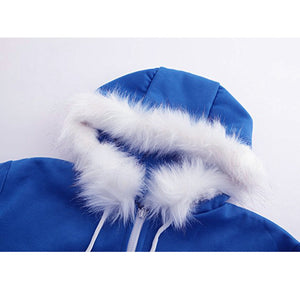 Unisex Blue Warm Hooded Coat - Jeybeauty