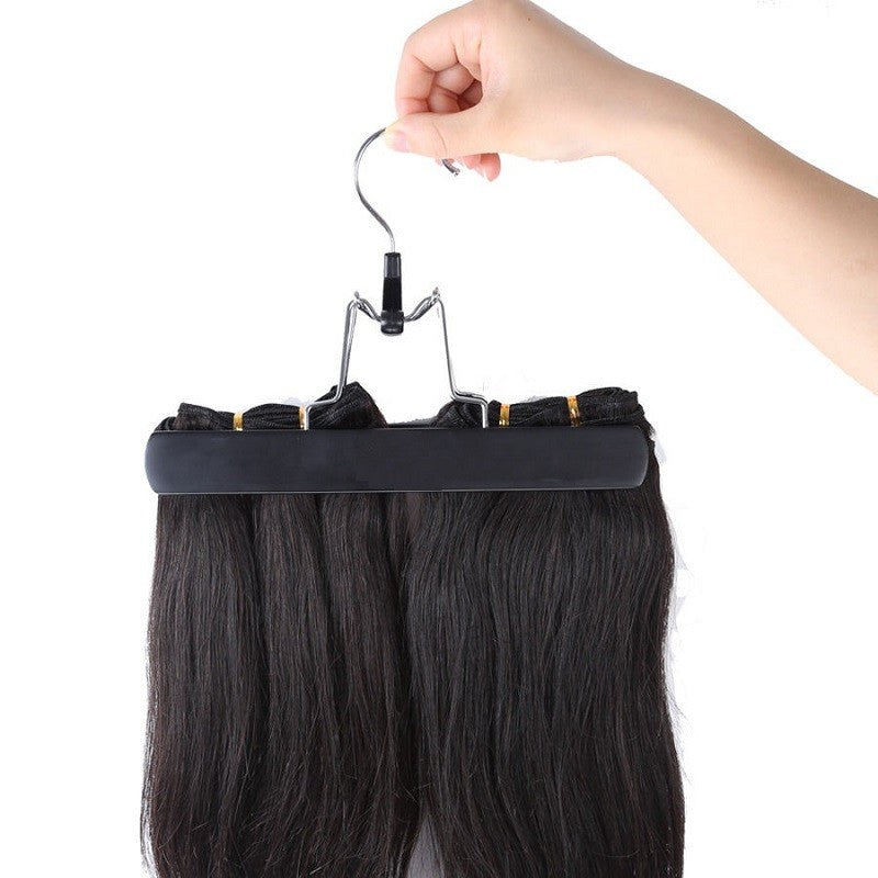 Hair Extensions Carrier Storage  with Wooden Hanger for Virgin Hair Weft & Clip in Hair Extension - Jeybeauty