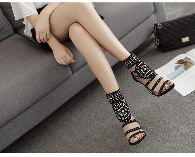Crystal Ankle Wrap Glitter Diamond Gladiator Sandals - Jeybeauty