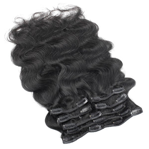 Body Wave Brazilian Virgin Hair Clip In Human Hair Extensions 16-22inches 7 Pieces/Set Natural Color 120g/set - Jeybeauty