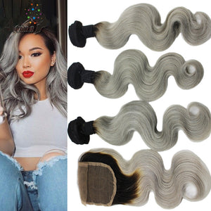 Peruvian Ombre Body Wave Weave With Lace Closure - Jeybeauty