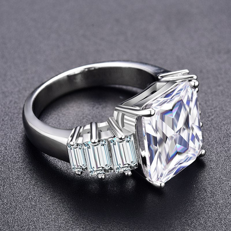 White Gold Color Engagement Rings Clear AAA Zircon Jewel - Jeybeauty