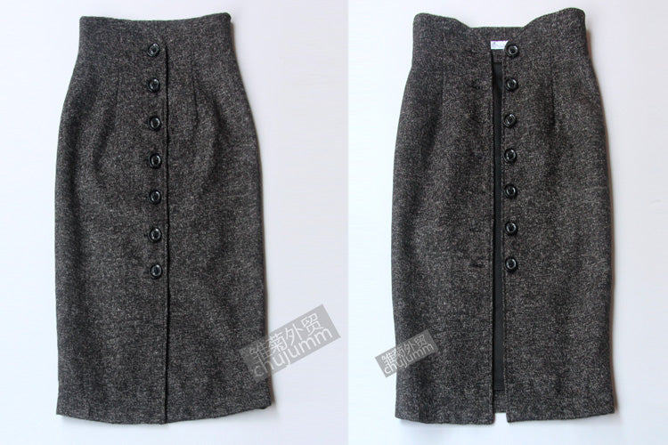 High Waist  Solid Color Woolen Breasted Pencil Skirt - Jeybeauty