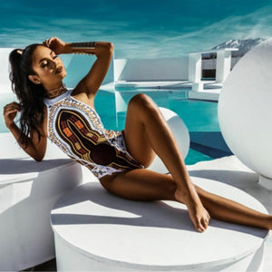 Sexy Bandage Digital Printing African Style Push Up Swim Suit Black Bikinis - Jeybeauty