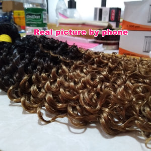 Deep Wave Brazilian Human Hair 3 Bundles With Closure 1B/4/27 Blonde Ombre Hair Weave Non Remy - Jeybeauty