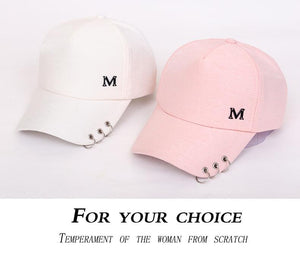 Metal Letter M Lion Ring Pink Classic 8 Panel bow Pearls - Jeybeauty