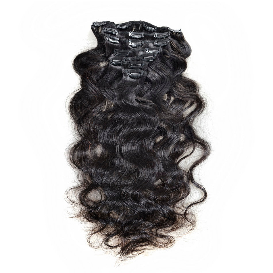 Brazilian Body Wave Clip In Hair Extensions 7Pcs/Set Natural Color 120G 100% Virgin Human Hair Free Shipping - Jeybeauty