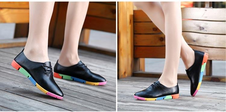 New breathable genuine leather flats shoes - Jeybeauty