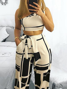 Self Belted Crop Colorblock Cropped High Waist - Jeybeauty