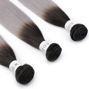 Ombre Brazilian Hair 1B/Grey Remy Straight  Bundles 4PC Sliver Gray - Jeybeauty