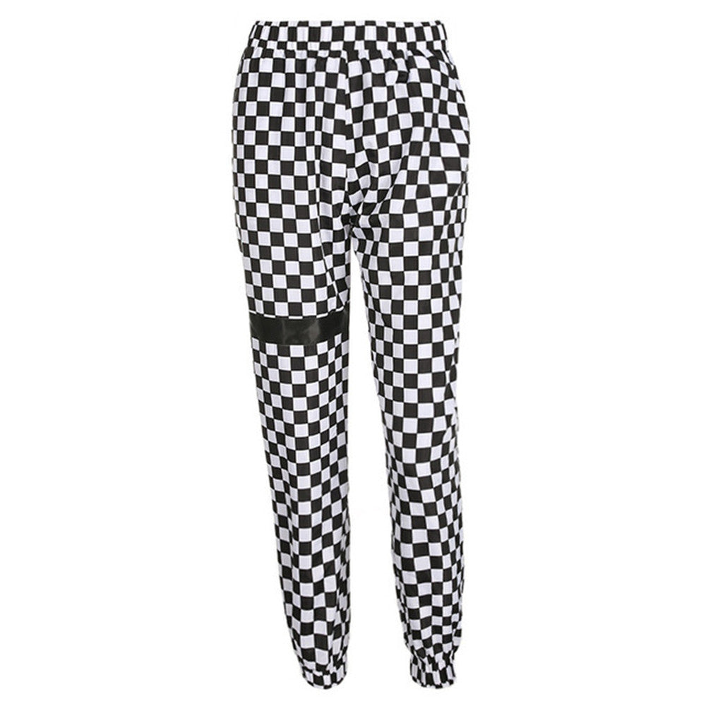 Plaid High Waist Patchwork Checkboard Sweatpants - Jeybeauty
