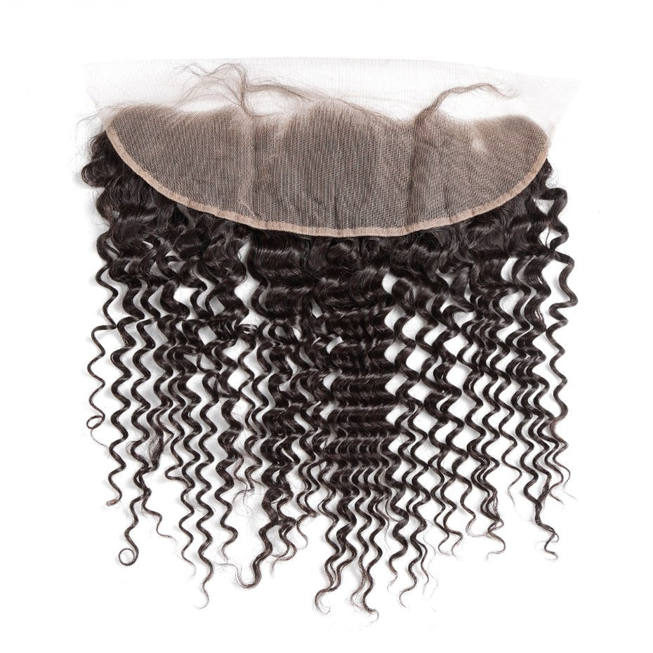 Deep Wave Lace Frontal  Virgin Hair Closure with Baby Hair - Jeybeauty