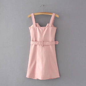 Strap PU Leather High Waist Belt Zipper Dress - Jeybeauty