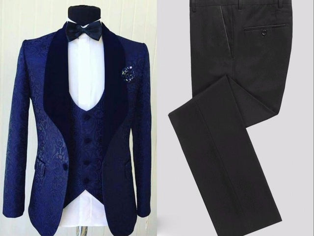 Shawl Velvet Lapel Men 3pcs Blazer Suits - Jeybeauty