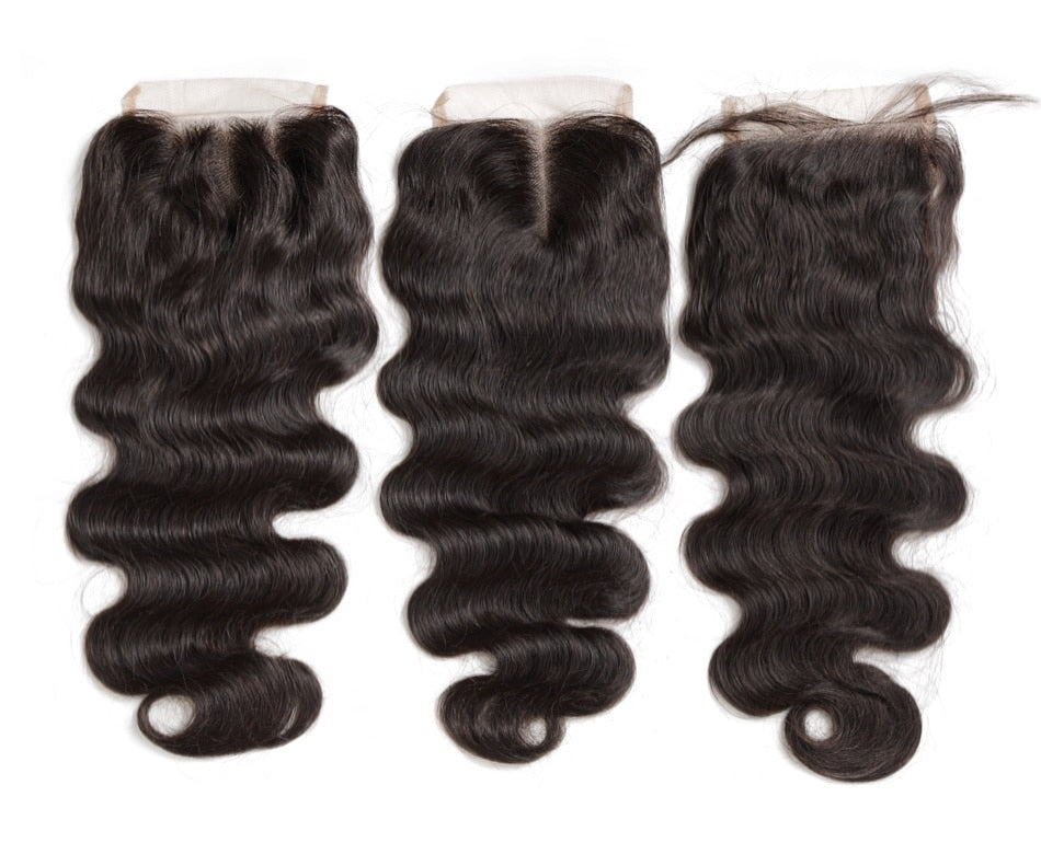 Peruvian Human Hair Closure Piece Body Wave Virgin Hair Lace Closure Middle/Free/3 Part With Bleached Knots Baby Hair - Jeybeauty