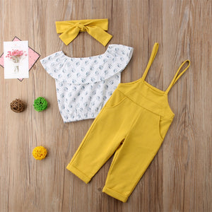 Off Shoulder Floral print Ruffle pullover Tops strap solid Trousers 2pc cotton outfit - Jeybeauty