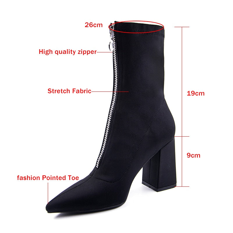 sexy High heels  winter Pointed boots Stretch fabric Front zipper Ankle Boots Martin boots - Jeybeauty