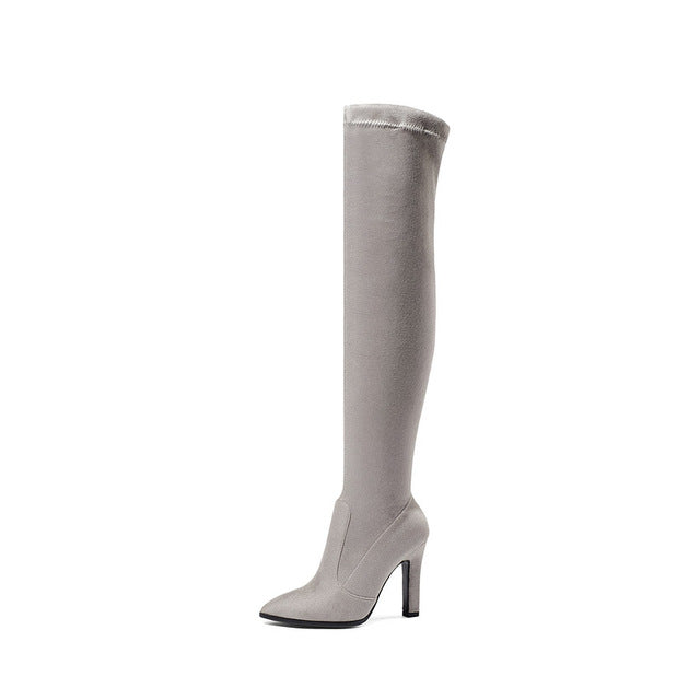 Over The Knee High Boots  Pointed Toe - Jeybeauty