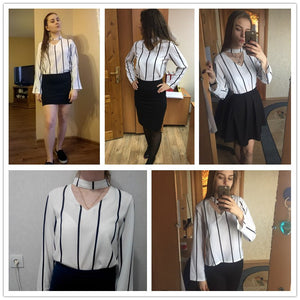 Striped Choker Blouse - Jeybeauty