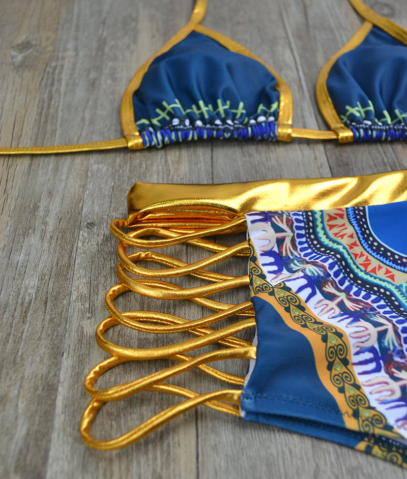 Gold High Waist Swim Suit - Jeybeauty