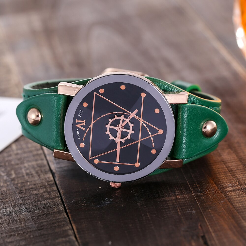 Gear & Triangle Genuine Leather Watch - Jeybeauty