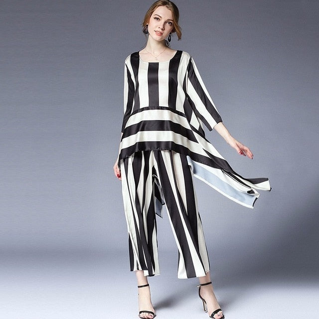 Loose Striped Set Suit - Jeybeauty