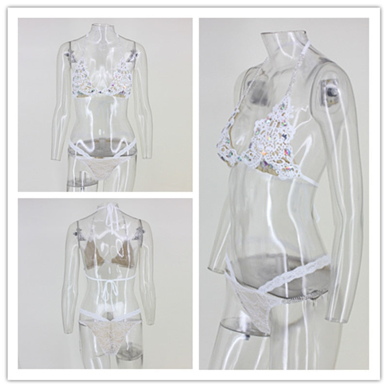 Crystal Diamond Hollow Out Lace Bodysuit - Jeybeauty