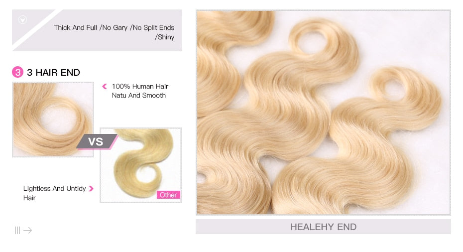 Brazilian 2 Tone Dark Roots Ombre Blonde Hair 3 Bundles With Lace Closure 1B/613 Body Wave - Jeybeauty