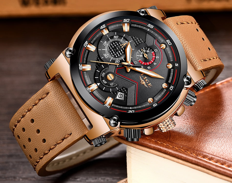 Leather  Mens Luxury Brand Waterproof Sport Clock Automatic date Quartz Watches - Jeybeauty