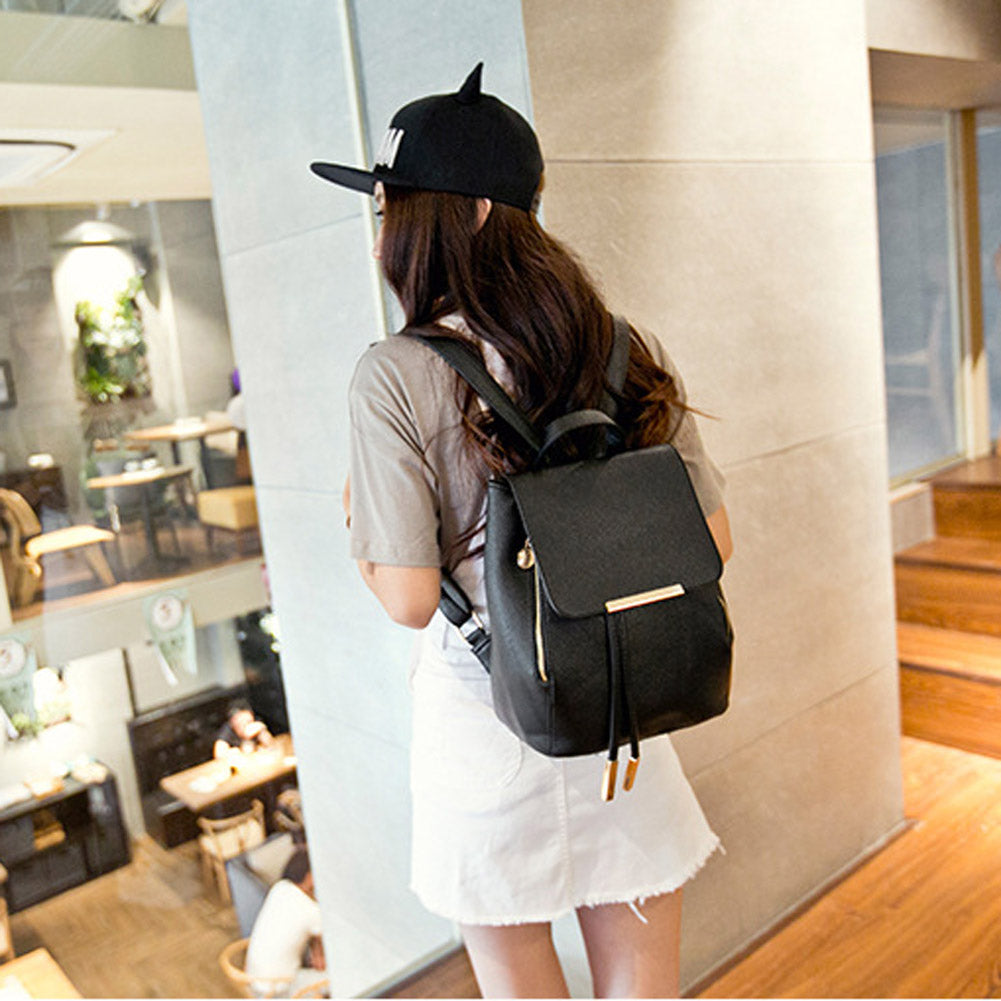 Leather Female Backpacks School Bags - Jeybeauty