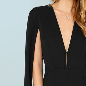 Black Highstreet Plunging Neck Cloak Sleeve Tapered Jumpsuit - Jeybeauty