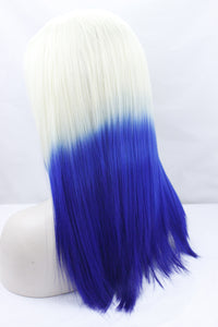 Short Straight Synthetic Lace Front Wig 613 T Blue Ombre Color With Dark Root Heat Resistant Half Hand Tied 150% - Jeybeauty