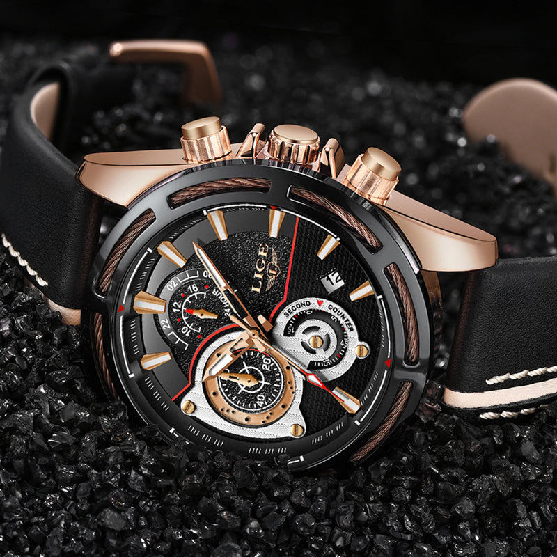 Top Luxury Men Calendar Leather Military Waterproof Sport Wrist Watch - Jeybeauty