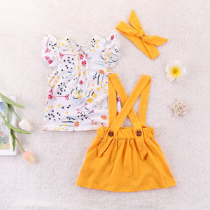 enfant fille Fresh Cute Print Pure color strap skirt+floral top+hair band set - Jeybeauty