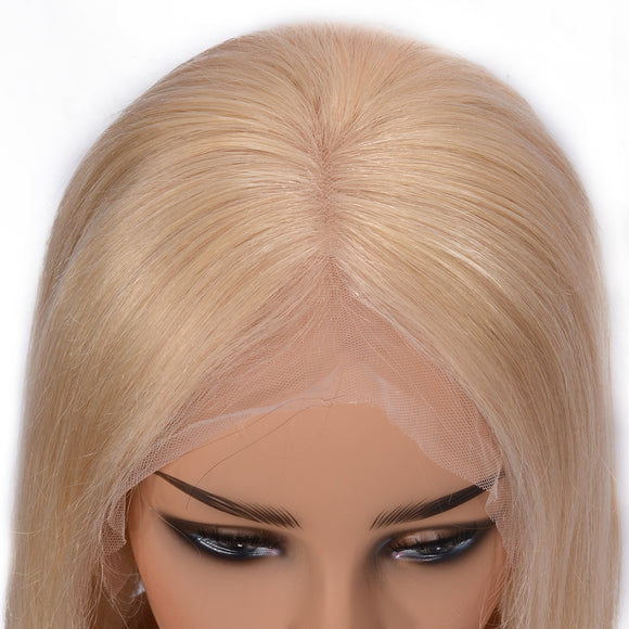 Silky Straight 613 Blonde Lace Front Human Hair Brazilian Lace Front Remy Hair Wig Pre Plucked - Jeybeauty