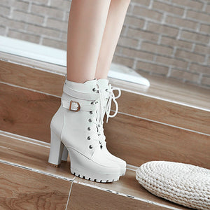 Ankle Boots Lace Up Round Toe  Bunckle  Fashion Woman White 2019 - Jeybeauty