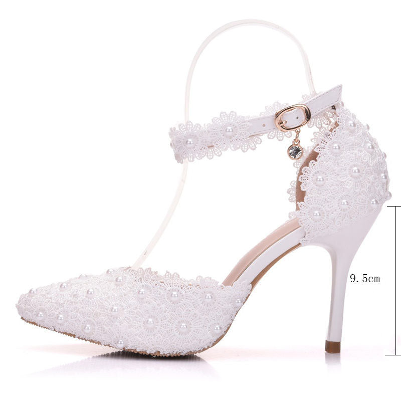 High Heels Lace Ankle Strap White Bridal Wedding Shoes - Jeybeauty