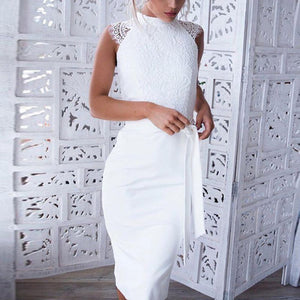 White O-Neck Lace Cording Stitching Sheath Dresses - Jeybeauty