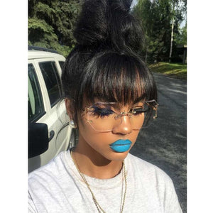 Brazilian Human Hair Blunt Bangs Clip In Natural Black 100% Virgin Hair - Jeybeauty