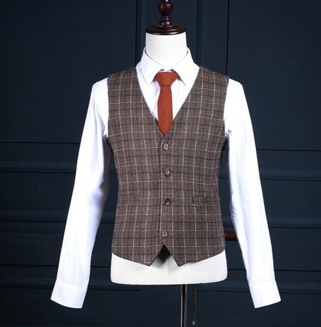 High Quality Plaid Brown Slim Blazer Suit - Jeybeauty