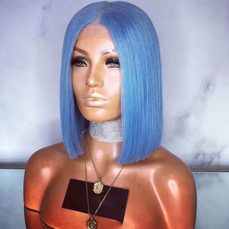 Short Straight Hair  Bob Wig Blue Wig Synthetic Lace Front Wig - Jeybeauty