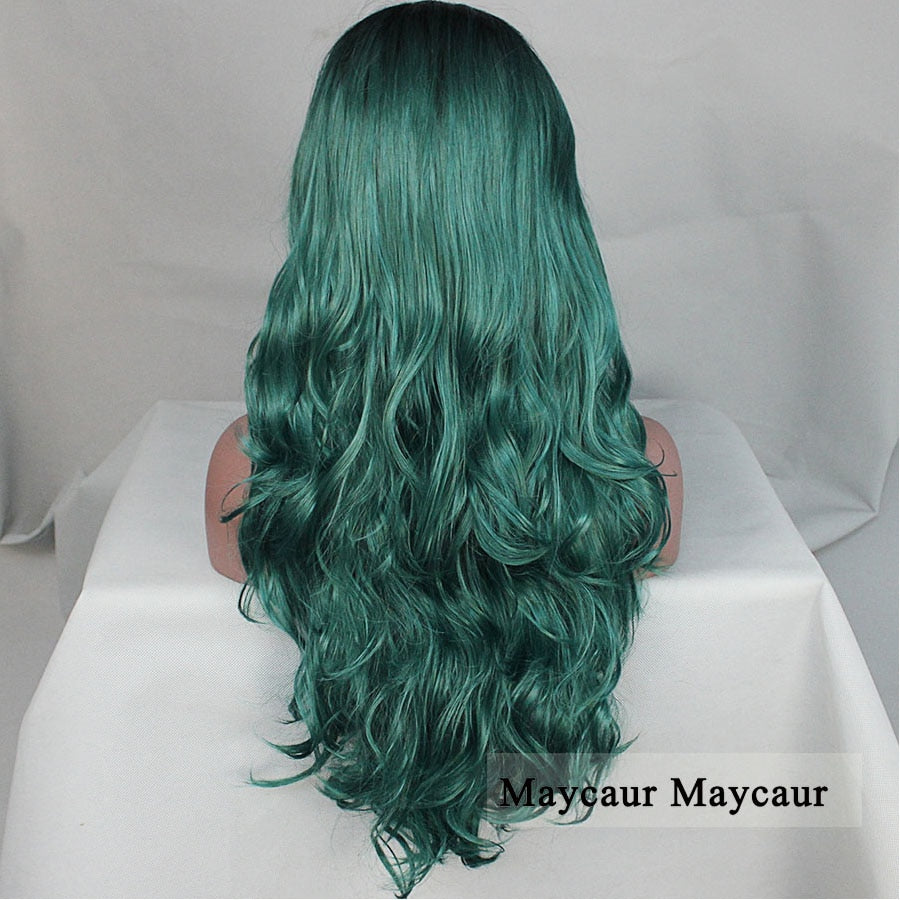 2 Tones Black Ombre Green Synthetic Lace Front Wigs Heat Dark Roots Short/Long Body Wave Hair - Jeybeauty