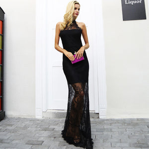 Simplee Elegant halter black lace dress women Sexy backless slim skinny maxi party dresses autumn Vintage long christmas dress - Jeybeauty