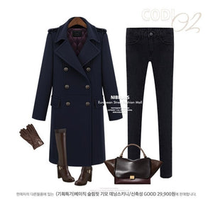 woolen trench coat women double breasted wool jacket thicken coat cashmere jacket - Jeybeauty