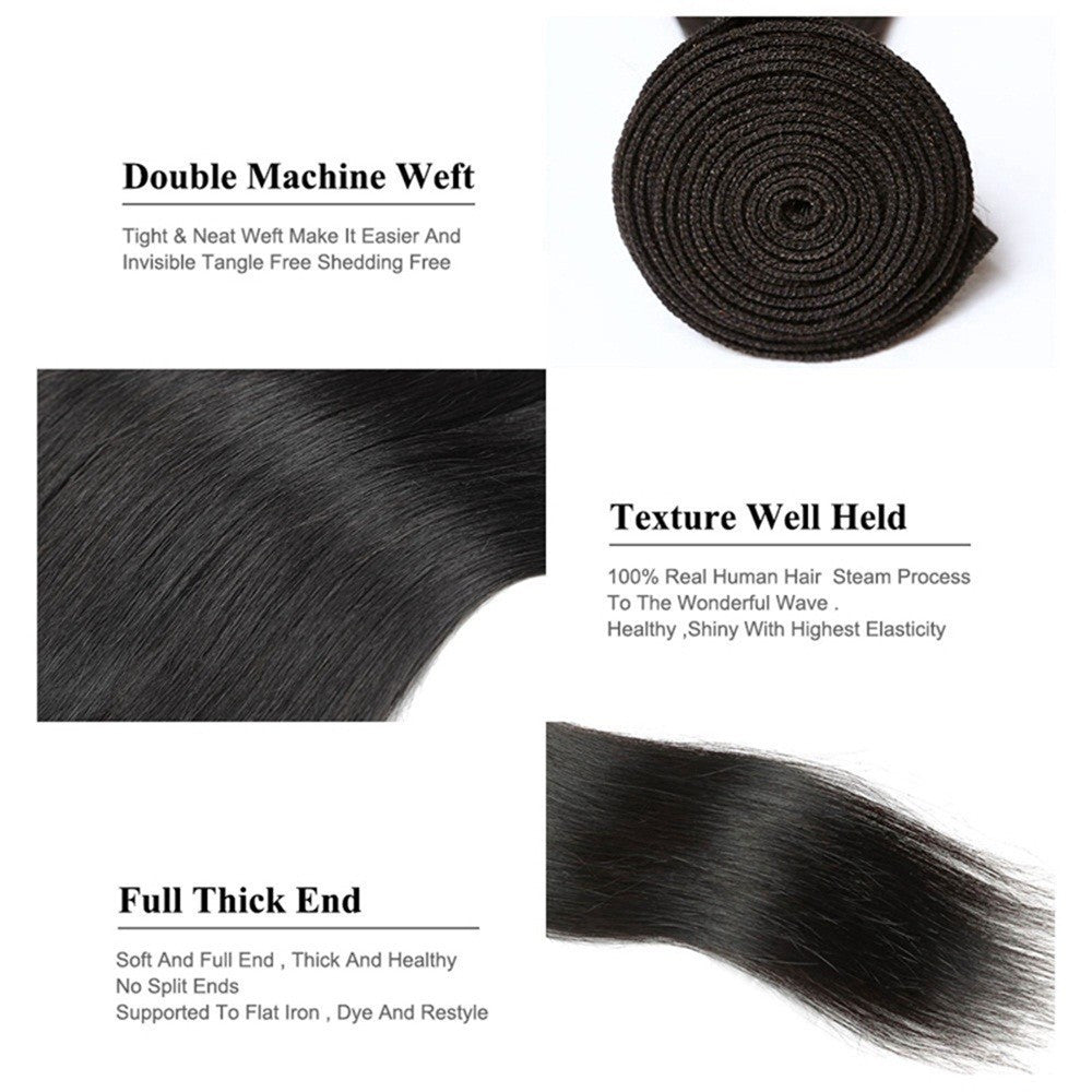 Straight Hair 3 Bundles Indian Human Hair Weave Extensions 100% Human Hair Bundles Non Remy Natural Hair 10 10 10 - Jeybeauty
