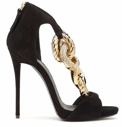 Back Zipper Black Suede Peep Toe Gold Metal Chain Shoe - Jeybeauty