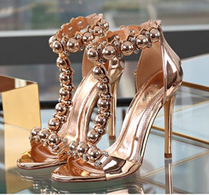 Intension nude Champagne gold gladiator sandals - Jeybeauty